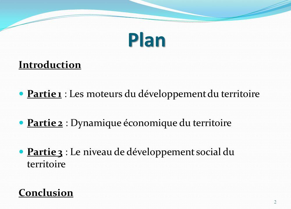 Plan Introduction  Partie 1 : Les moteurs du développement du territoire  Partie 2 : Dynamique économique du territoire  Partie 3 : Le niveau de dé