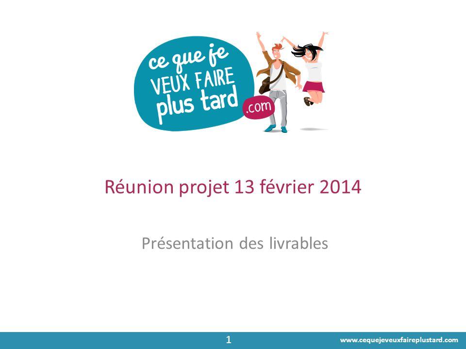 www.cequejeveuxfaireplustard.com Réunion projet 13 février 2014 Présentation des livrables 1