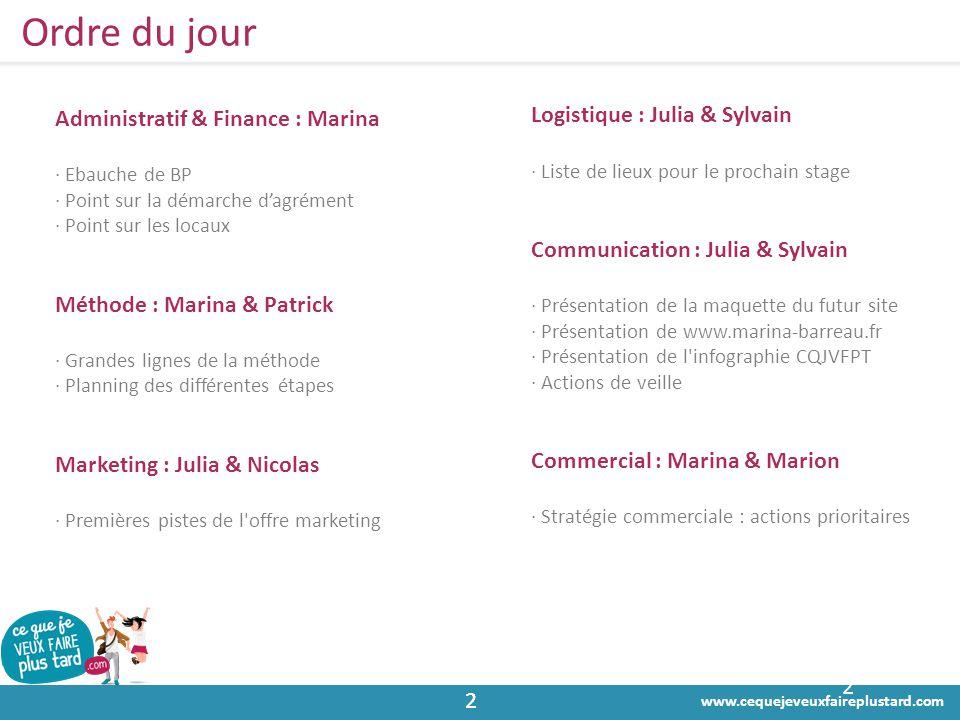 www.cequejeveuxfaireplustard.com 22 Ordre du jour 2 Administratif & Finance : Marina · Ebauche de BP · Point sur la démarche d'agrément · Point sur le