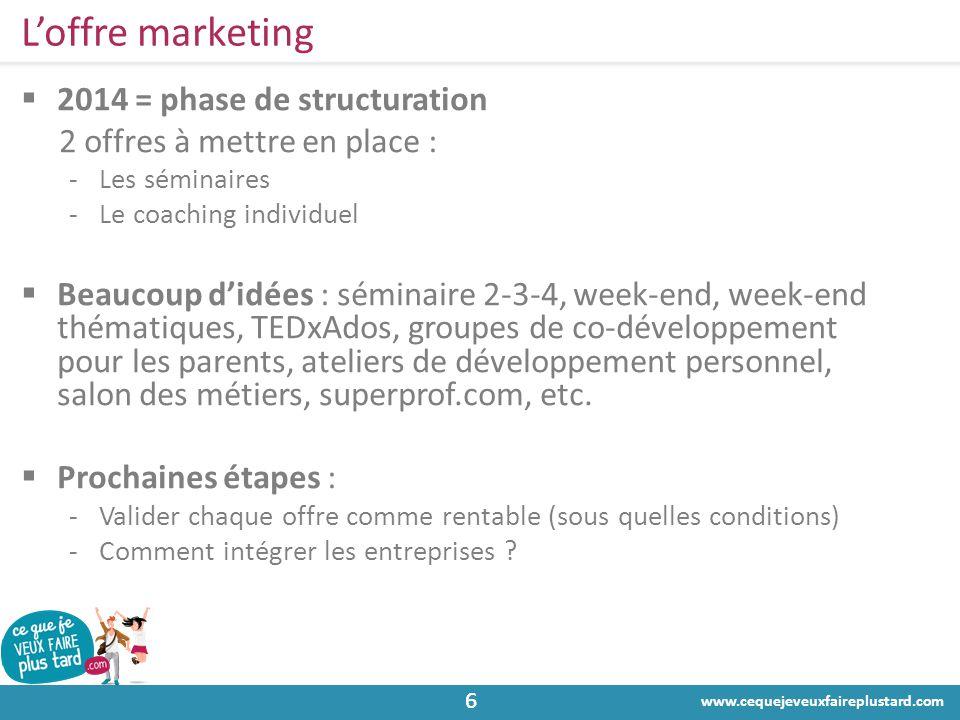 www.cequejeveuxfaireplustard.com 66 L'offre marketing  2014 = phase de structuration 2 offres à mettre en place : -Les séminaires -Le coaching indivi