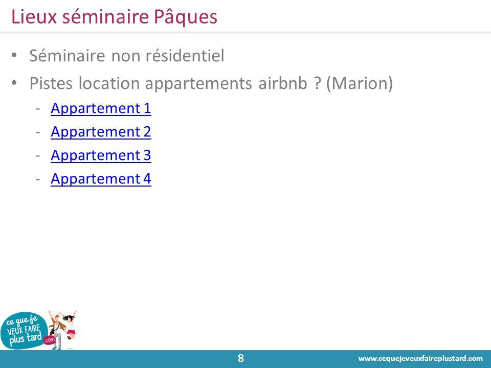 www.cequejeveuxfaireplustard.com 88 Lieux séminaire Pâques • Séminaire non résidentiel • Pistes location appartements airbnb ? (Marion) -Appartement 1