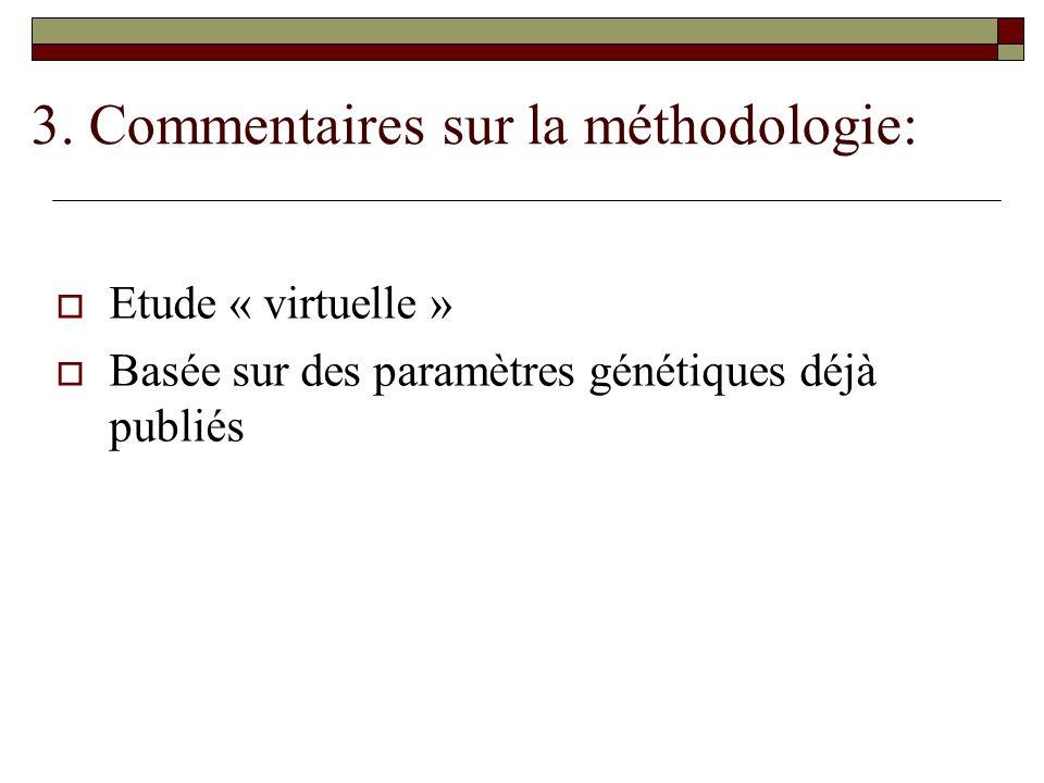 3. Commentaires sur la méthodologie:  Etude « virtuelle »  Basée sur des paramètres génétiques déjà publiés