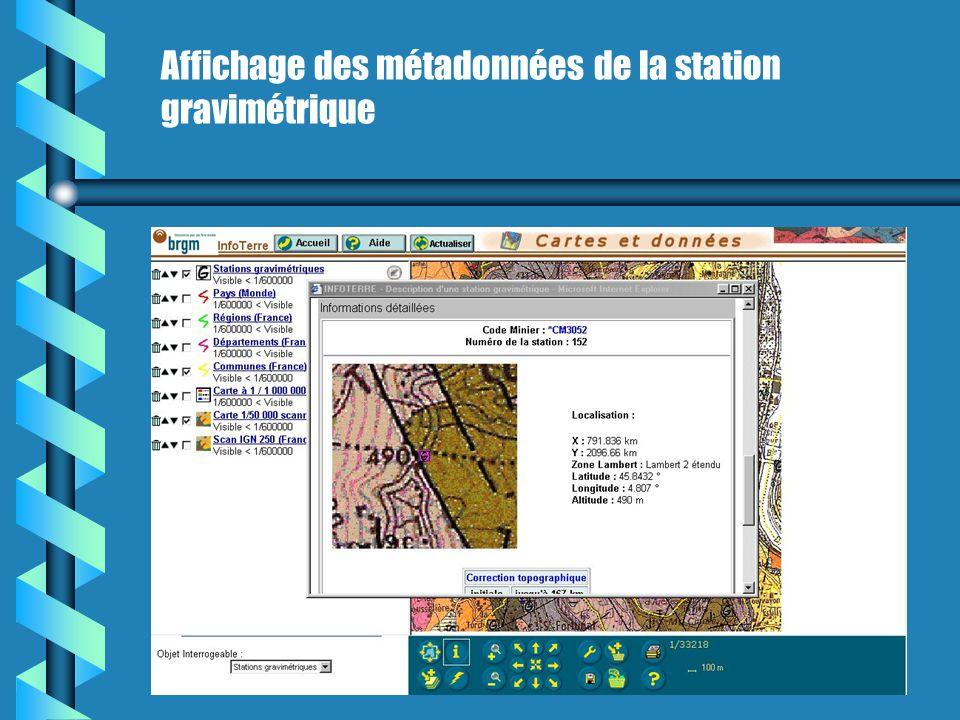 Affichage des métadonnées de la station gravimétrique