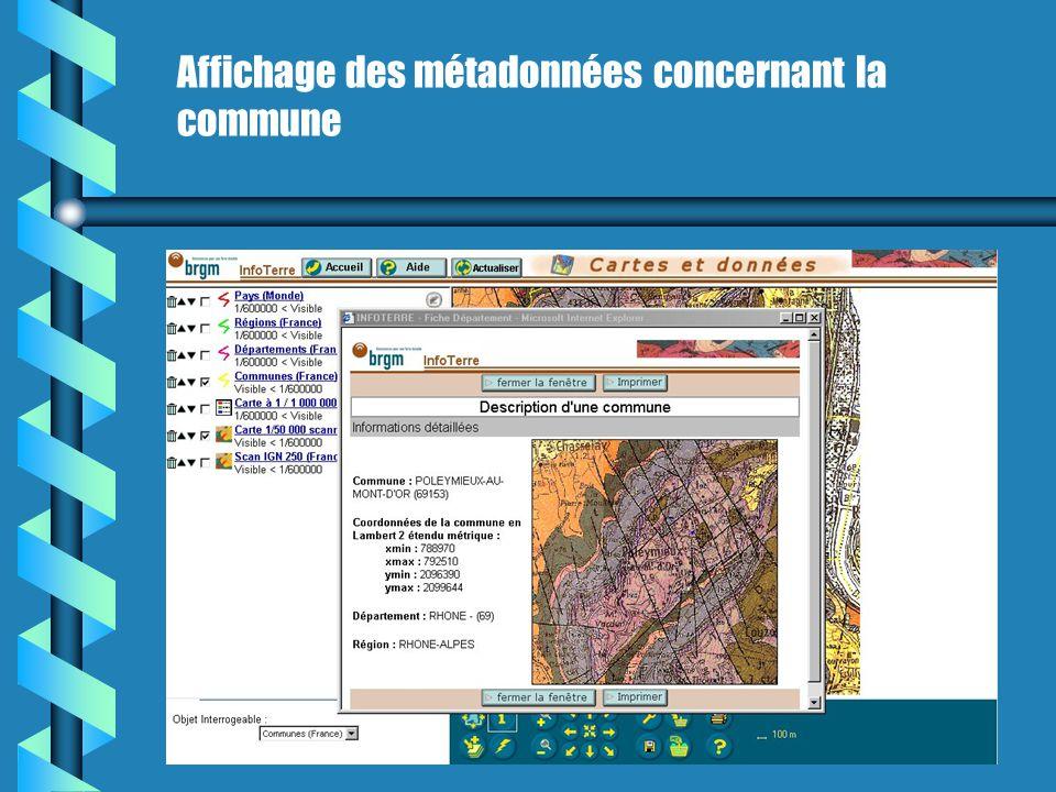 Affichage des métadonnées concernant la commune