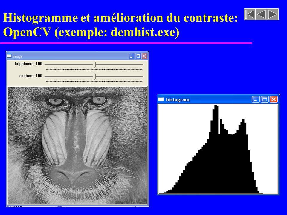 Histogramme et amélioration du contraste: OpenCV (exemple: demhist.exe) Créer une structure cvHistogram Création de l'histogramme