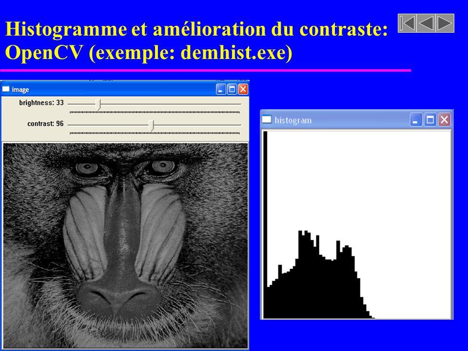 Histogramme et amélioration du contraste: OpenCV (exemple: demhist.exe)