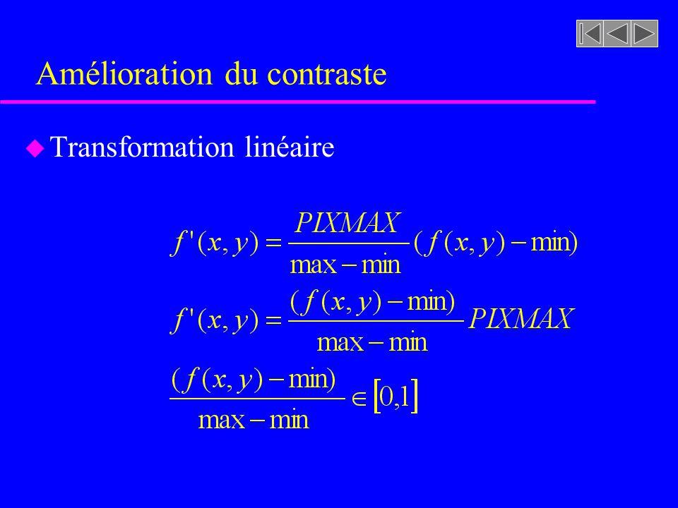 Amélioration du contraste u Transformation linéaire u Transformation linéaire avec saturation u Transformation linéaire par bout avec saturation u Égalisation de l'histogramme