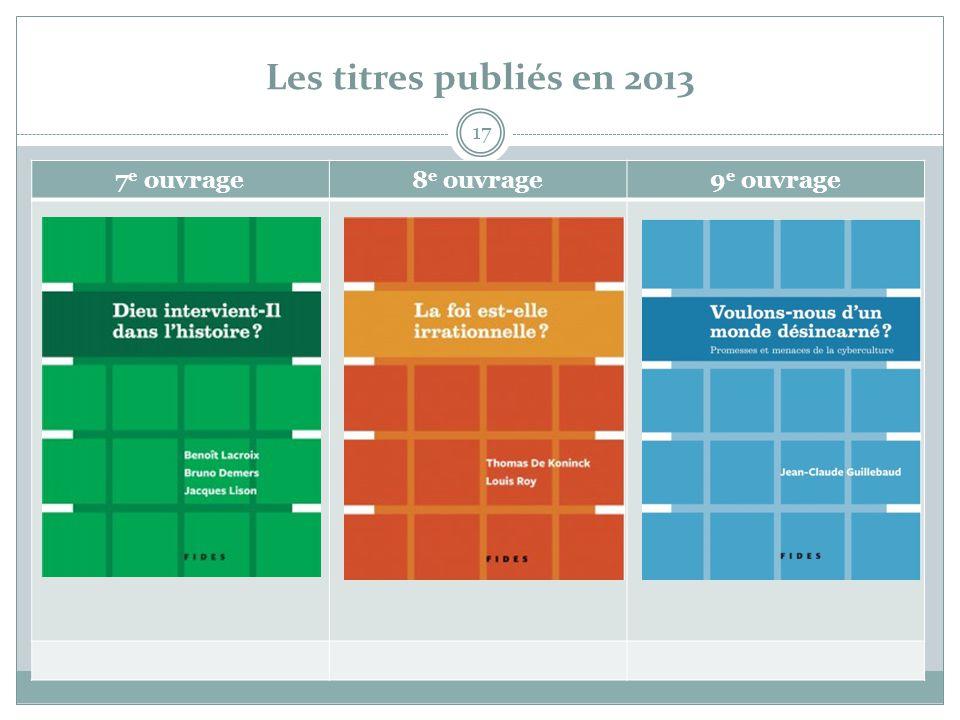 Les titres publiés en 2013 17 7 e ouvrage8 e ouvrage9 e ouvrage
