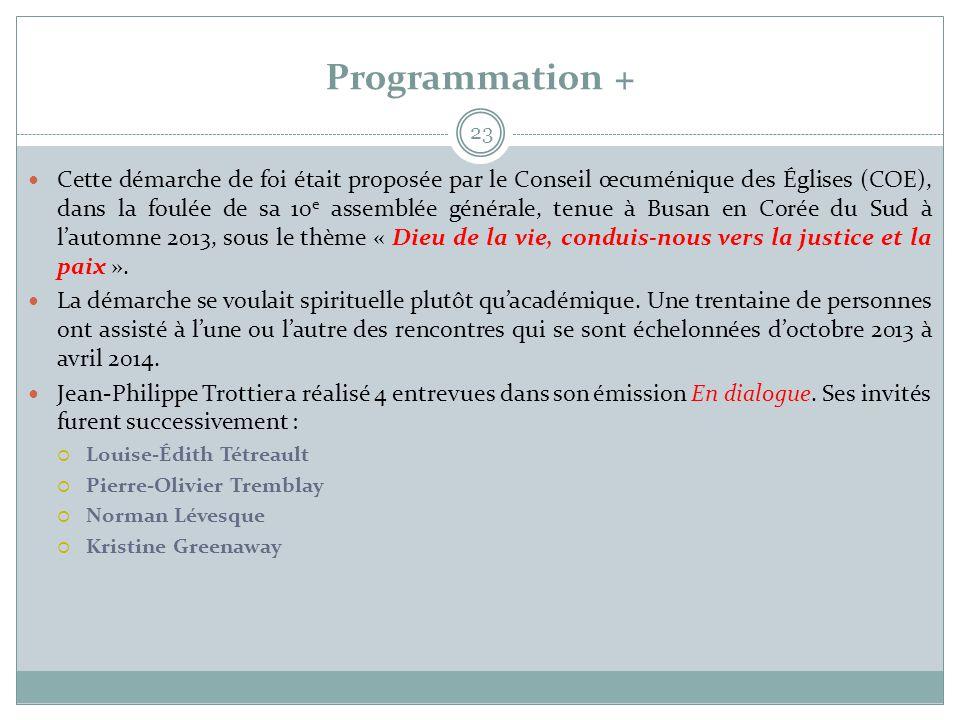 Programmation + 23  Cette démarche de foi était proposée par le Conseil œcuménique des Églises (COE), dans la foulée de sa 10 e assemblée générale, t