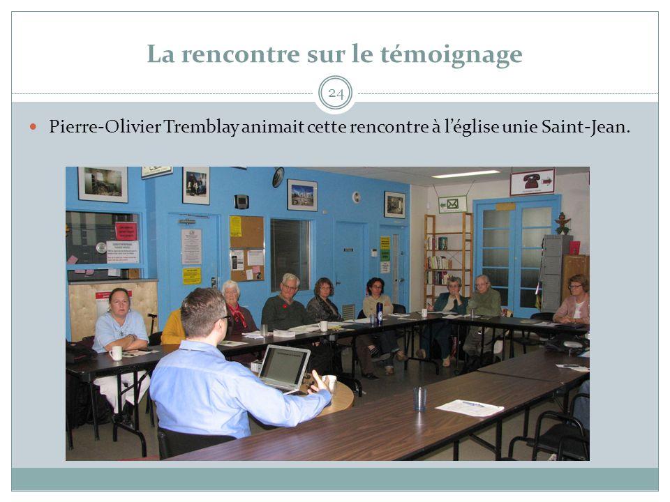 La rencontre sur le témoignage 24  Pierre-Olivier Tremblay animait cette rencontre à l'église unie Saint-Jean.