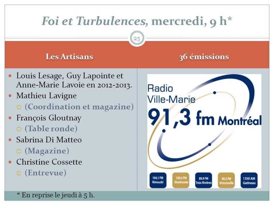 Les Artisans  Louis Lesage, Guy Lapointe et Anne-Marie Lavoie en 2012-2013.  Mathieu Lavigne  (Coordination et magazine)  François Gloutnay  (Tab