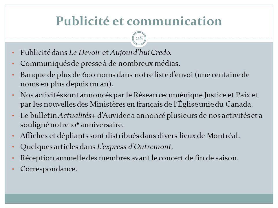 Publicité et communication 28 • Publicité dans Le Devoir et Aujourd'hui Credo. • Communiqués de presse à de nombreux médias. • Banque de plus de 600 n