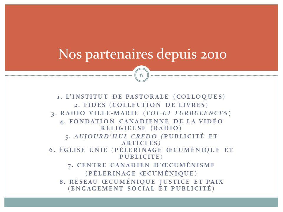 1. L'INSTITUT DE PASTORALE (COLLOQUES) 2. FIDES (COLLECTION DE LIVRES) 3. RADIO VILLE-MARIE (FOI ET TURBULENCES) 4. FONDATION CANADIENNE DE LA VIDÉO R