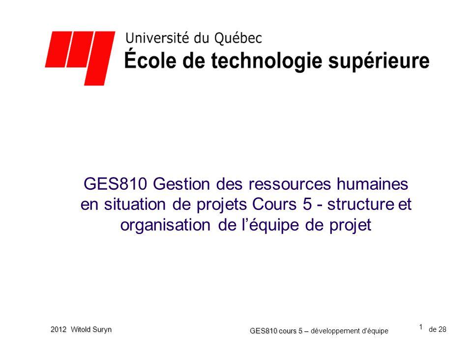 22 GES810 cours 5 – GES810 cours 5 – développement d équipe de 28 2012 Witold Suryn Les considérations pratiques •Est-ce que la taille d'une organisation est importante.