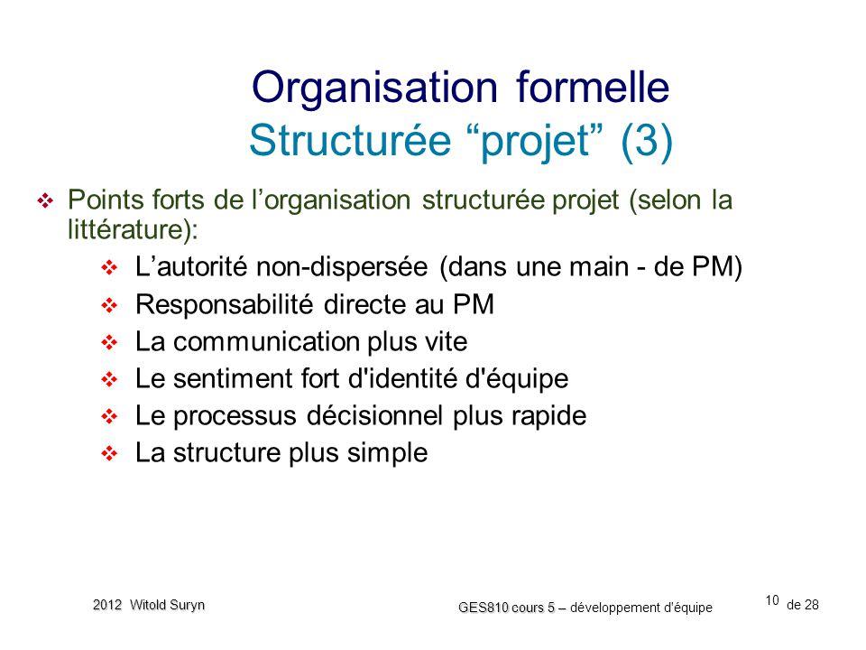 10 GES810 cours 5 – GES810 cours 5 – développement d'équipe de 28 2012 Witold Suryn  Points forts de l'organisation structurée projet (selon la litté