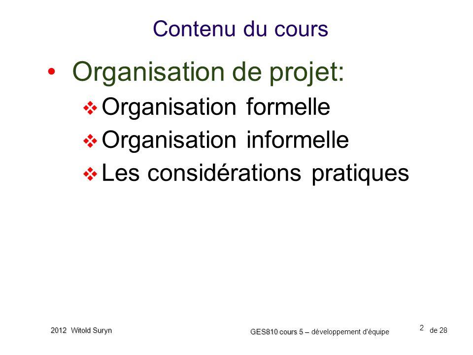 2 GES810 cours 5 – GES810 cours 5 – développement d'équipe de 28 2012 Witold Suryn Contenu du cours •Organisation de projet:  Organisation formelle 