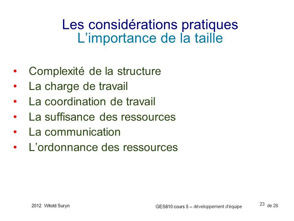 23 GES810 cours 5 – GES810 cours 5 – développement d'équipe de 28 2012 Witold Suryn Les considérations pratiques L'importance de la taille •Complexité