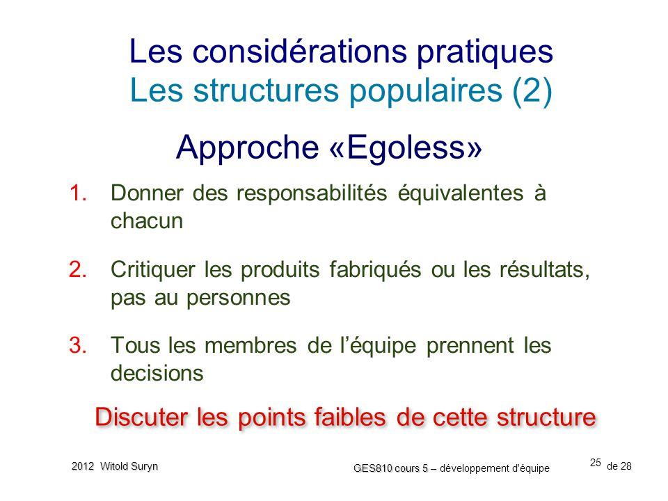 25 GES810 cours 5 – GES810 cours 5 – développement d'équipe de 28 2012 Witold Suryn Les considérations pratiques Les structures populaires (2) 1. Donn