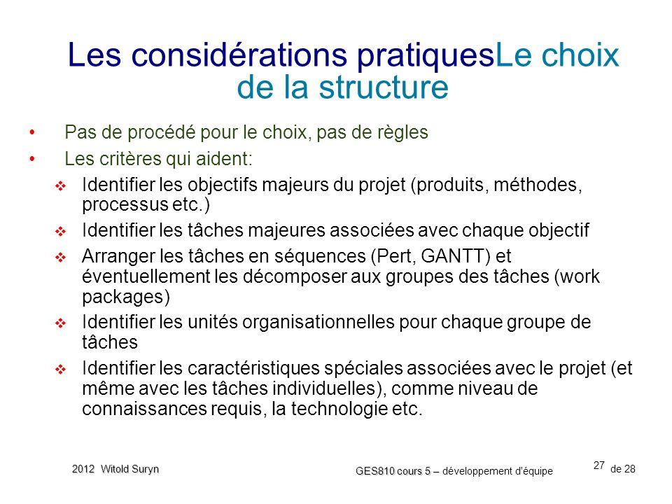 27 GES810 cours 5 – GES810 cours 5 – développement d'équipe de 28 2012 Witold Suryn •Pas de procédé pour le choix, pas de règles •Les critères qui aid