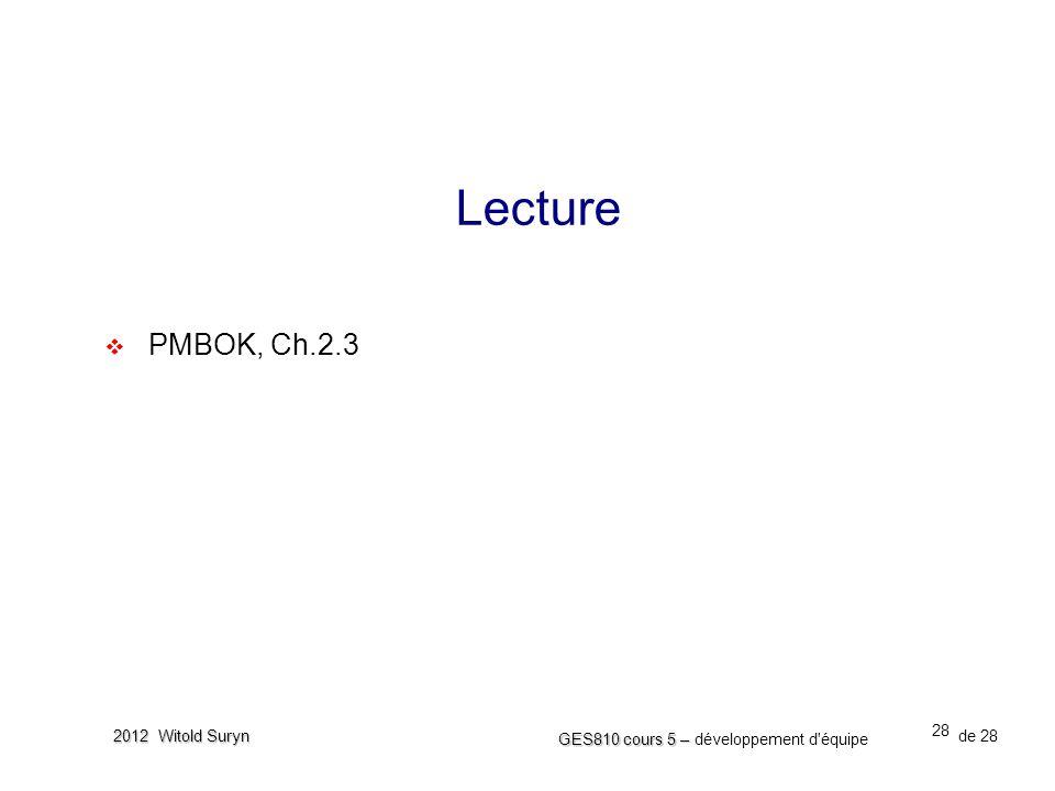 28 GES810 cours 5 – GES810 cours 5 – développement d'équipe de 28 2012 Witold Suryn Lecture  PMBOK, Ch.2.3