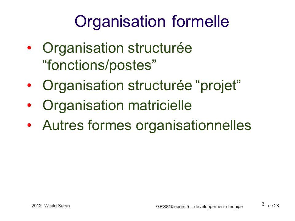 """3 GES810 cours 5 – GES810 cours 5 – développement d'équipe de 28 2012 Witold Suryn Organisation formelle •Organisation structurée """"fonctions/postes"""" •"""
