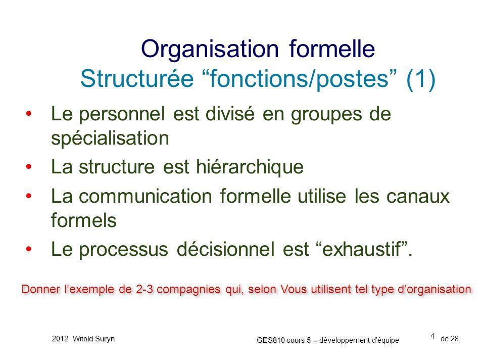 5 GES810 cours 5 – GES810 cours 5 – développement d équipe de 28 2012 Witold Suryn Organisation formelle Structurée fonctions/postes (2) Guerre