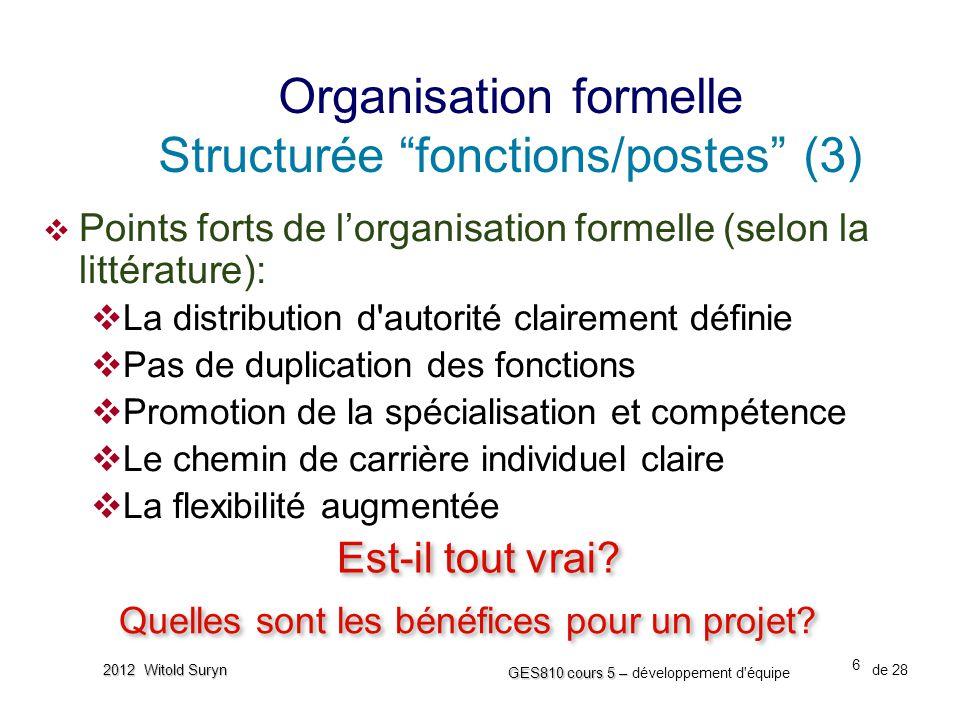 6 GES810 cours 5 – GES810 cours 5 – développement d'équipe de 28 2012 Witold Suryn  Points forts de l'organisation formelle (selon la littérature): 
