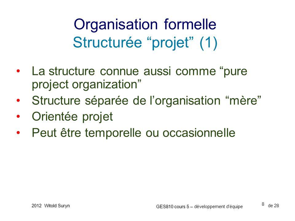 """8 GES810 cours 5 – GES810 cours 5 – développement d'équipe de 28 2012 Witold Suryn •La structure connue aussi comme """"pure project organization"""" •Struc"""