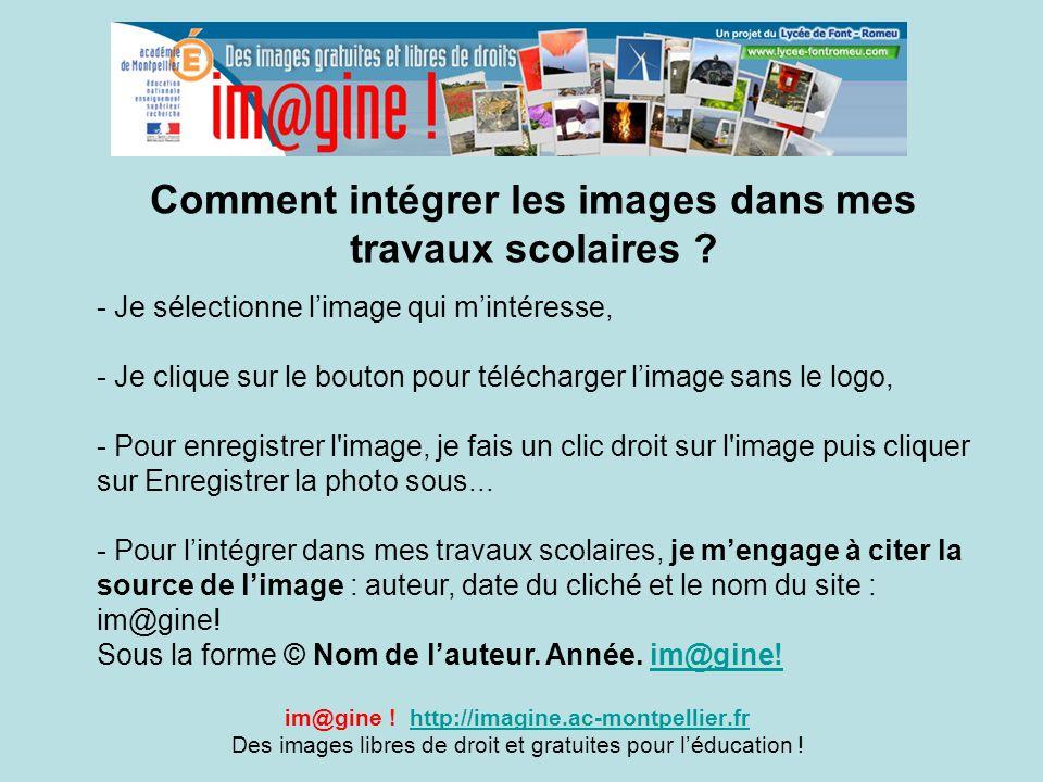 Comment intégrer les images dans mes travaux scolaires ? im@gine ! http://imagine.ac-montpellier.frhttp://imagine.ac-montpellier.fr Des images libres