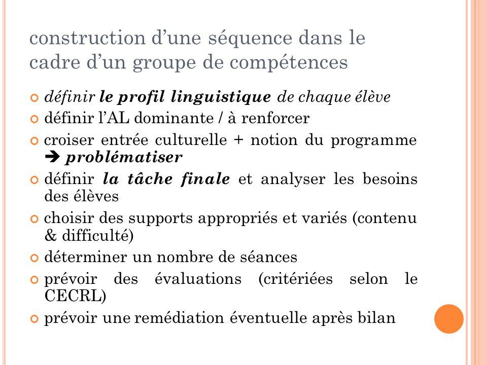 construction d'une séquence dans le cadre d'un groupe de compétences définir le profil linguistique de chaque élève définir l'AL dominante / à renforcer croiser entrée culturelle + notion du programme  problématiser définir la tâche finale et analyser les besoins des élèves choisir des supports appropriés et variés (contenu & difficulté) déterminer un nombre de séances prévoir des évaluations (critériées selon le CECRL) prévoir une remédiation éventuelle après bilan
