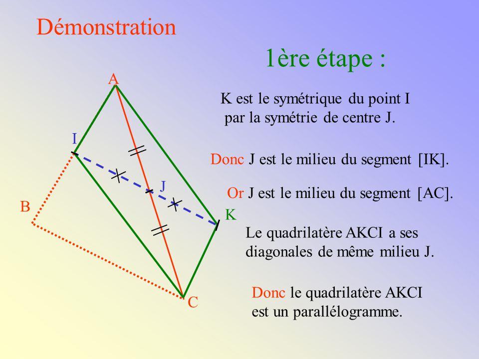 ABC est un triangle A C B J est le milieu du côté [AC] I est le milieu du côté [AB] La droite (IJ) est parallèle à la droite (BC).