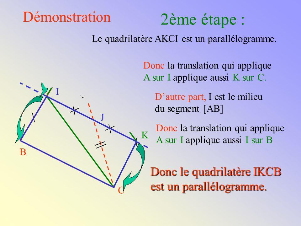 I Démonstration Donc J est le milieu du segment [IK]. K est le symétrique du point I par la symétrie de centre J. Le quadrilatère AKCI a ses diagonale