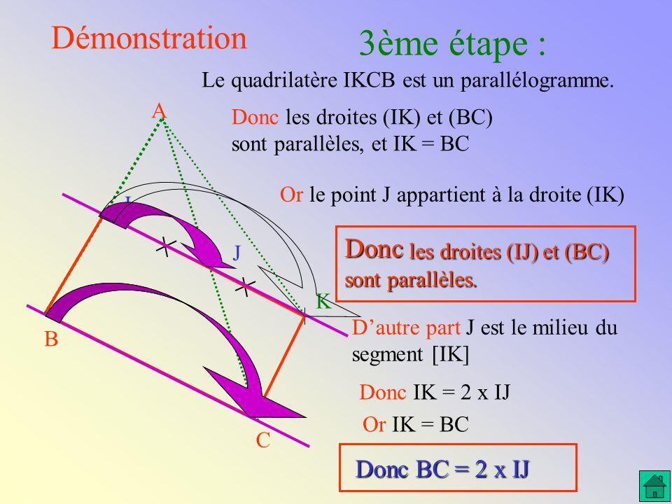A C B J I K Démonstration 2ème étape : Le quadrilatère AKCI est un parallélogramme. Donc la translation qui applique A sur I applique aussi K sur C. D