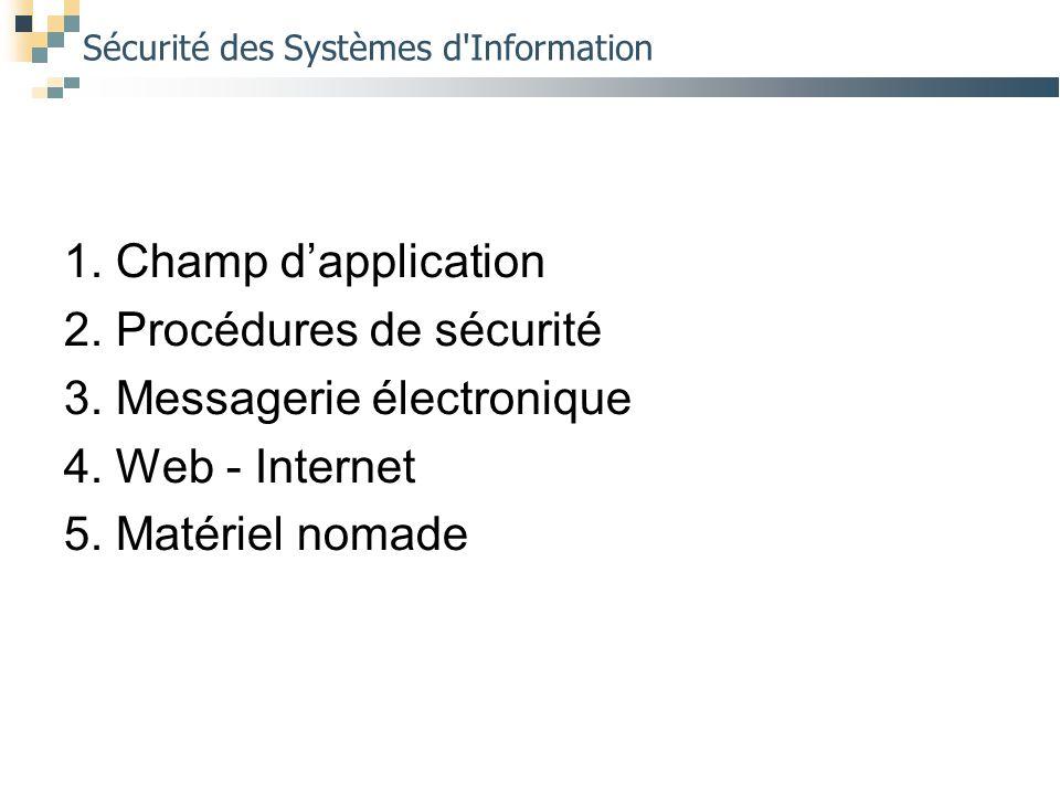 Sécurité des Systèmes d'Information 1. Champ d'application 2. Procédures de sécurité 3. Messagerie électronique 4. Web - Internet 5. Matériel nomade