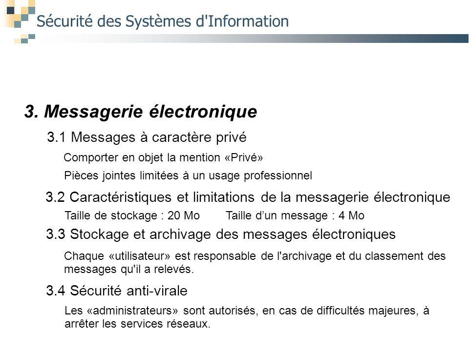 Sécurité des Systèmes d'Information 3. Messagerie électronique 3.1 Messages à caractère privé Comporter en objet la mention «Privé» Pièces jointes lim