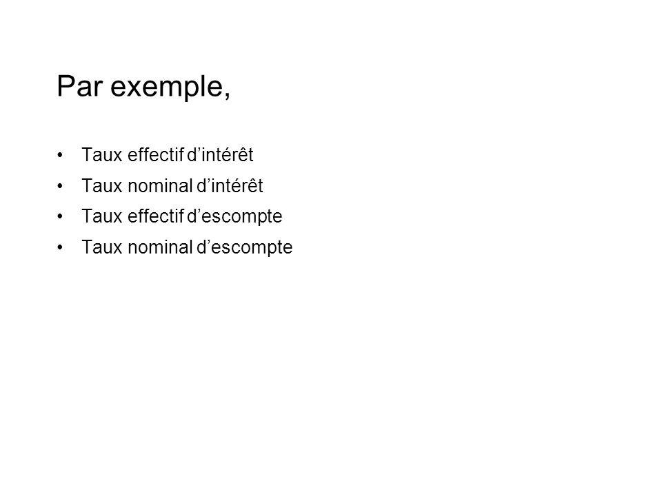 Par exemple, •Taux effectif d'intérêt •Taux nominal d'intérêt •Taux effectif d'escompte •Taux nominal d'escompte