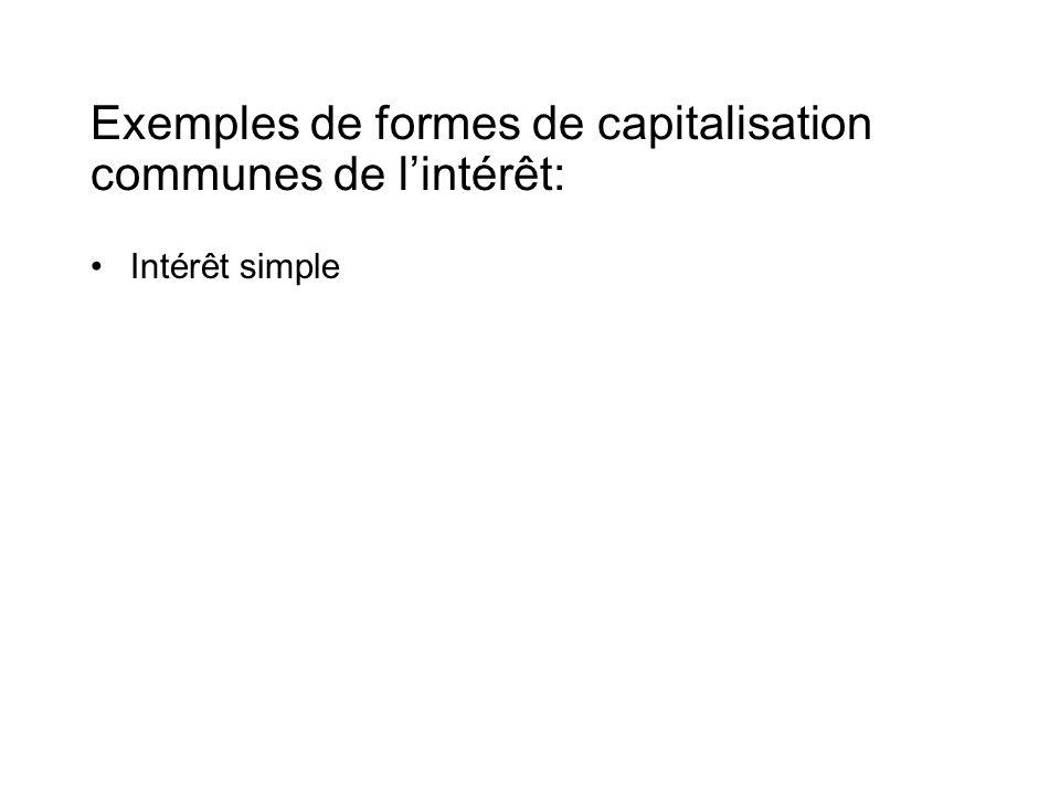 Exemples de formes de capitalisation communes de l'intérêt: •Intérêt simple