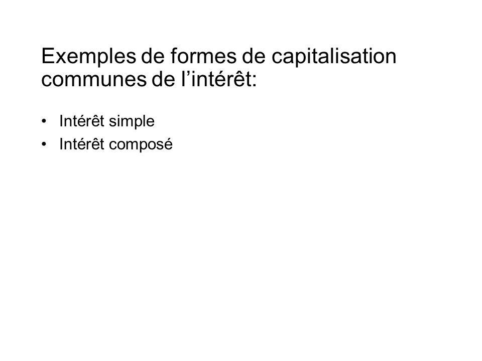 Exemples de formes de capitalisation communes de l'intérêt: •Intérêt simple •Intérêt composé