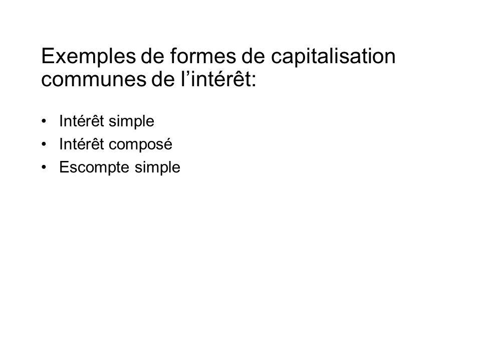 Exemples de formes de capitalisation communes de l'intérêt: •Intérêt simple •Intérêt composé •Escompte simple