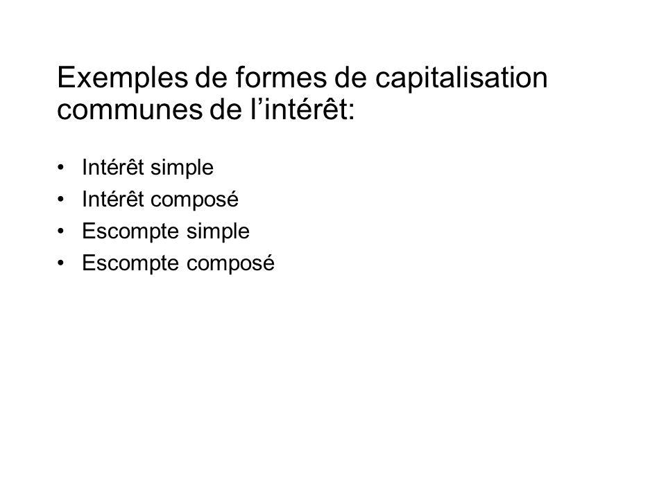 Exemples de formes de capitalisation communes de l'intérêt: •Intérêt simple •Intérêt composé •Escompte simple •Escompte composé