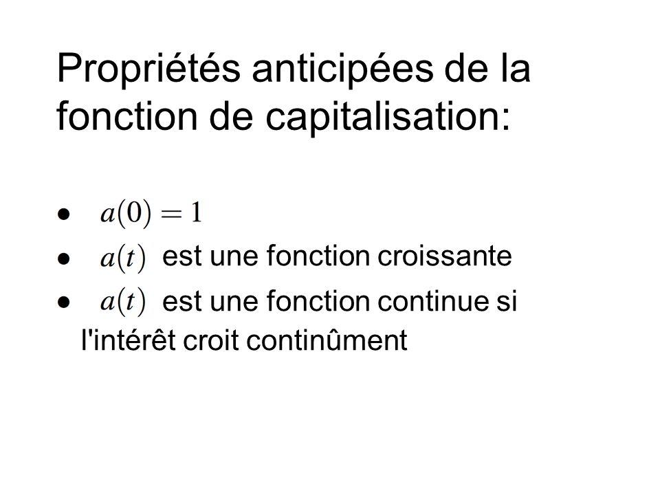 Propriétés anticipées de la fonction de capitalisation: • est une fonction croissante • est une fonction continue si l intérêt croit continûment