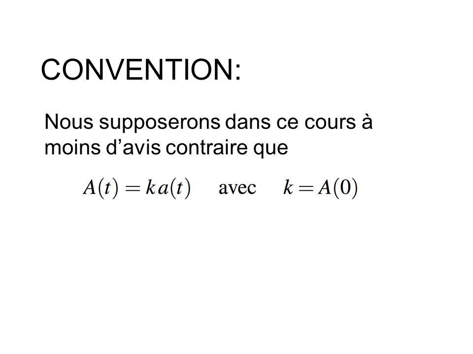CONVENTION: Nous supposerons dans ce cours à moins d'avis contraire que