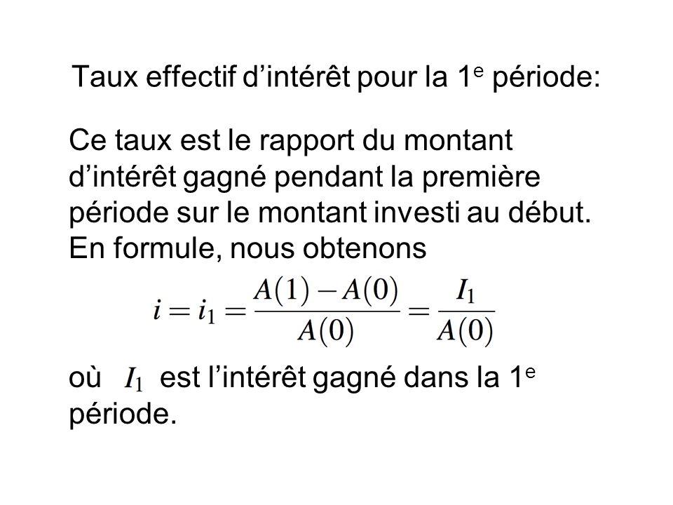 Taux effectif d'intérêt pour la 1 e période: Ce taux est le rapport du montant d'intérêt gagné pendant la première période sur le montant investi au début.