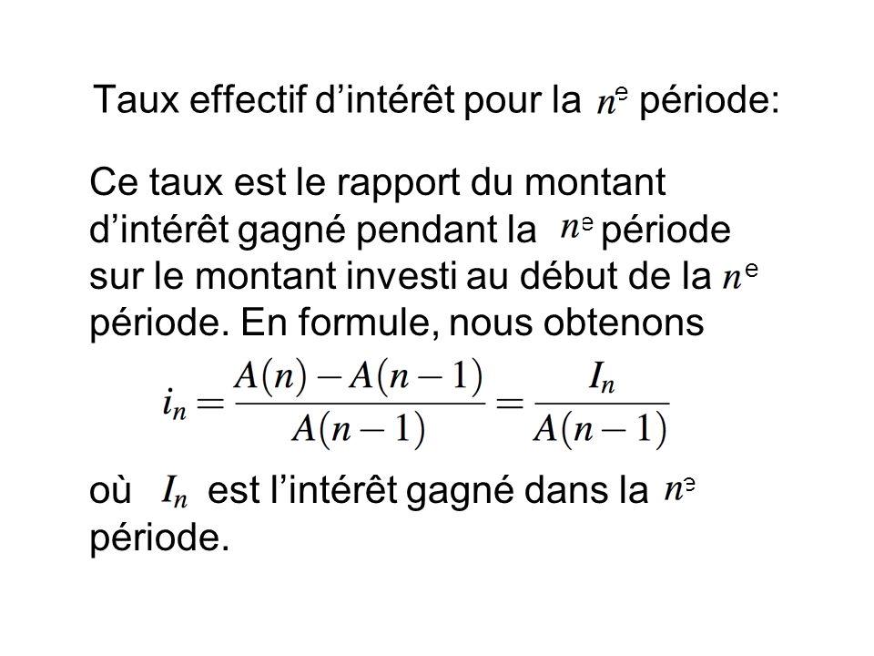 Taux effectif d'intérêt pour la e période: Ce taux est le rapport du montant d'intérêt gagné pendant la e période sur le montant investi au début de la e période.