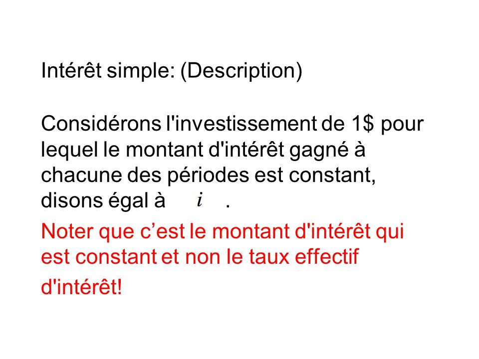 Intérêt simple: (Description) Considérons l investissement de 1$ pour lequel le montant d intérêt gagné à chacune des périodes est constant, disons égal à.