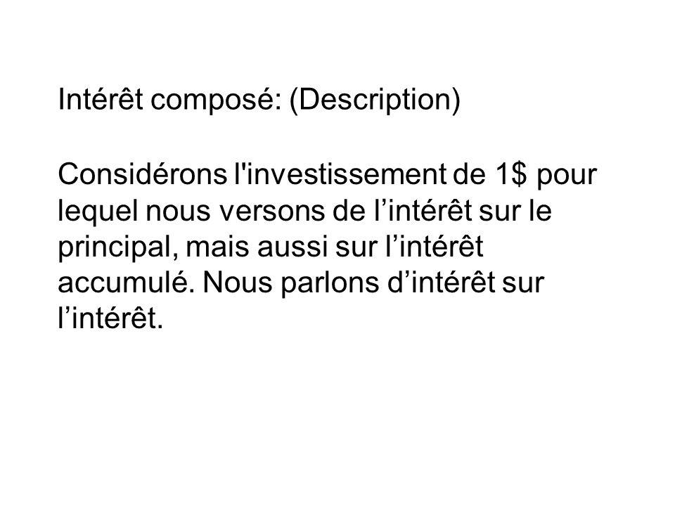 Intérêt composé: (Description) Considérons l investissement de 1$ pour lequel nous versons de l'intérêt sur le principal, mais aussi sur l'intérêt accumulé.