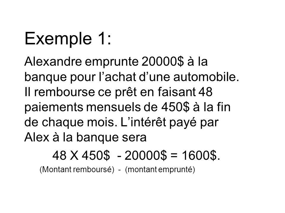 Exemple 1: Alexandre emprunte 20000$ à la banque pour l'achat d'une automobile.