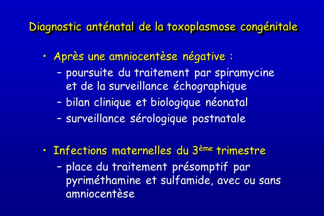 Diagnostic anténatal de la toxoplasmose congénitale •Après une amniocentèse négative : –poursuite du traitement par spiramycine et de la surveillance