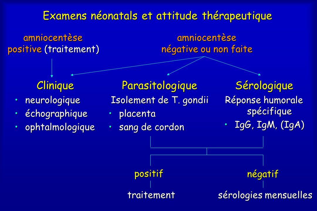 Examens néonatals et attitude thérapeutique Parasitologique Isolement de T. gondii •placenta •sang de cordon Sérologique Réponse humorale spécifique •