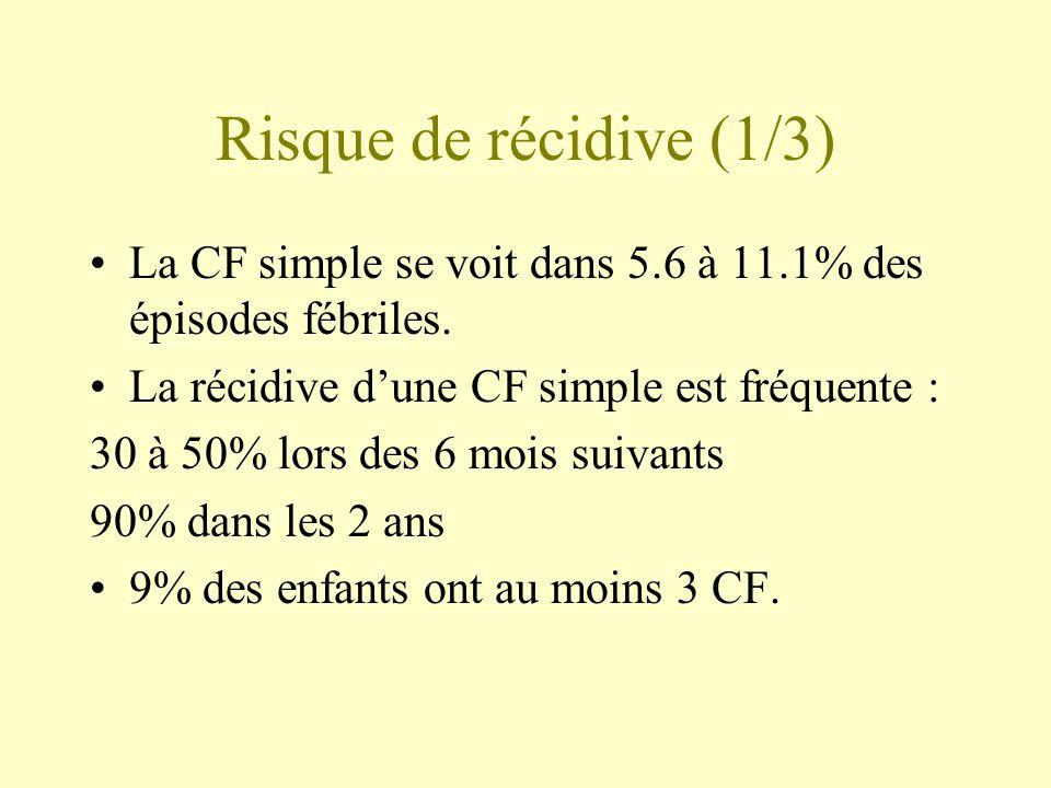 Risque de récidive (1/3) •La CF simple se voit dans 5.6 à 11.1% des épisodes fébriles. •La récidive d'une CF simple est fréquente : 30 à 50% lors des